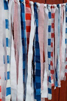 Red, White and Blue Decorative Rag Garland