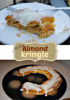Almond Kringle: delicious, easy danish recipe made at home. Very similar to Aileen's Swedish Kringle recipe. Danish Recipe Easy, Almond Danish Kringle Recipe, Danish Recipes, Just Desserts, Dessert Recipes, Health Desserts, Scandinavian Food, Danish Food, Gourmet