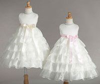 Flower Girl Dresses - Flower Girl Dress Style 882- Ivory Satin and Organza Dress with Ruffle Skirt in Choice of Color