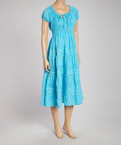 Another great find on #zulily! Turquoise Peasant Dress #zulilyfinds