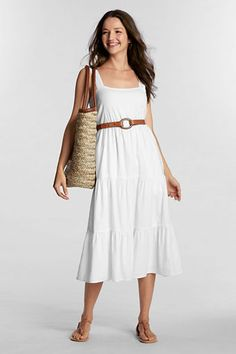 Love this easy breezy look for on the beach and window shopping in town! Women's Refined Straw Tote from Lands' End Khaki Slacks, Fendi Purses, Purses Online, Simple Style, My Style, Summer Outfits, Summer Dresses, Straw Tote, Comfortable Sandals