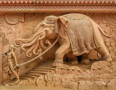 The elephant being led to bring on the mud flood - notice the trunk movement signifying sound The Swaminarayan Akshardham Temple, Delhi Indian Temple Architecture, India Architecture, Ancient Architecture, Sculpture Art, Sculptures, India Art, Indian Paintings, Abstract Paintings, Art Paintings
