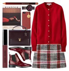"""""""scholar"""" by foundlostme ❤ liked on Polyvore featuring Burberry, STELLA McCARTNEY, Carven, Uniqlo, Yves Saint Laurent, Bobbi Brown Cosmetics, Kevyn Aucoin and chelseaboots"""