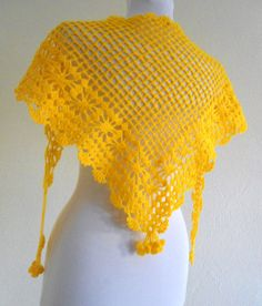 yellow crochet scarf Holiday Accessories by likeknitting on Etsy