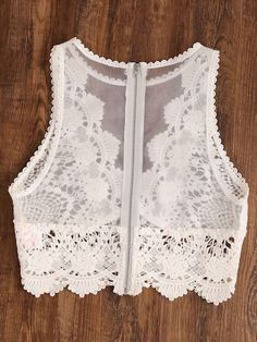 Scallop Lace Applique Exposed Zip Tulle Tank Top -SheIn(Sheinside) For summer cardigan Sari Design, Saree Blouse Designs, Blouse Patterns, Crop Top Outfits, Trendy Outfits, Creation Couture, Bustiers, Scalloped Lace, Fashion Sewing