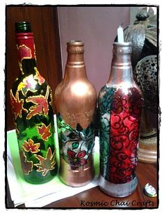 pretty candle holders made from bottles