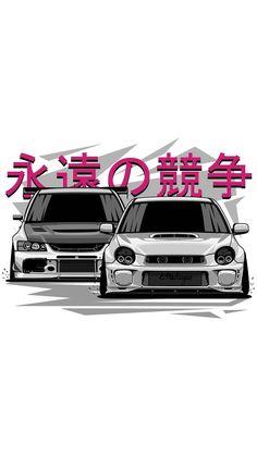 Retro cars wallpaper automotive art 15 ideas for 2019 Tuner Cars, Jdm Cars, Jdm Wallpaper, Street Racing Cars, Car Illustration, Japan Cars, Automotive Art, Japanese Domestic Market, Subaru Impreza