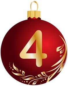 Christmas Ball Number Four Transparent PNG Clip Art Image