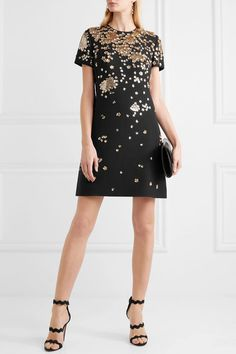 Valentino | Sequin-embellished wool and silk-blend mini dress | NET-A-PORTER.COM