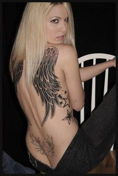 New Inked Tattoo Grils Angel Wings Tattoo