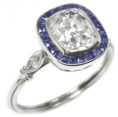 Art Deco 2.10ct Cushion Cut Diamond Sapphire Platinum Engagement Ring