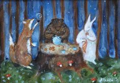Woodland picnic, Katherine Lewis, original art, painting, illustration, children's book illustration, fox, bear, rabbit, woods, forest, tea party, picnic, mushrooms, stars, nature, whimsical, fantasy