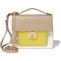 Salvatore Ferragamo Small Gancio Lock Shoulder Bag ($1,850) ❤ liked on Polyvore featuring bags, handbags, shoulder bags, colorblock purse, gold handbag, beige purse, gold shoulder bag and kiss-lock handbags