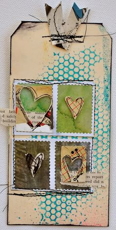 Dina Wakley, Tags and Bees   { dina's work is outstanding; look her up, you'll be happy you did }