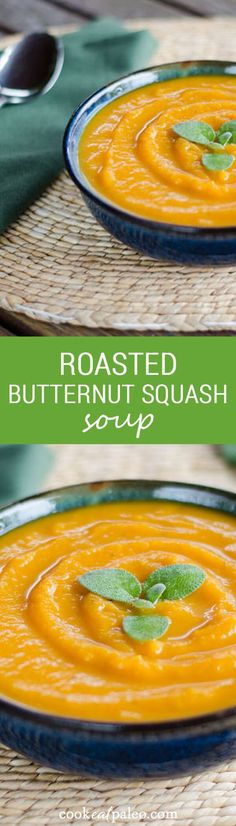 With just three essential ingredients, this roasted butternut squash soup is a perfect gluten-free, dairy-free, paleo soup for fall. | Cook Eat Paleo