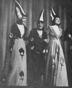 Maria Callas (third from left) in her professional debut as Beatrice in Boccaccio (Athens, 1941).