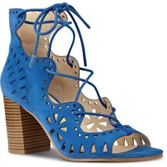 Nine West Gweniah Ghillie Sandals (1.593.810 VND) ❤ liked on Polyvore featuring shoes, sandals, blue suede, high heeled footwear, wide heel sandals, high heel sandals, chunky high heel sandals and chunky heel sandals