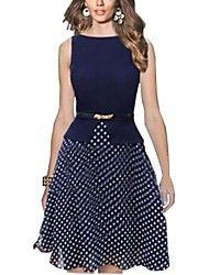Women's Polka Dots Fit Flare Dress  – USD $ 11.42