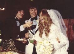 Donny feeds Suzanne cake at Alan & Suzanne's wedding in 1974.