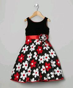 Take a look at this Black & Red Flower Dress - Toddler & Girls on zulily today! Pretty me Toddler Girl Dresses, Toddler Outfits, Kids Outfits, Toddler Girls, Little Girl Fashion, Toddler Fashion, Kids Fashion, Little Girl Dresses, Girls Dresses