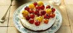 Cheesecake met geitenkaas en gemarineerde tomaten