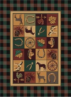 Western Blankets Rug Features: block patches of western theme icons, horse shoes, cowboy hats, weather vanes and horses framed by a plaid border adding to the rustic theme any cowboy or cowgirl would love coming home too.