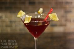 Darth Maultini (Star Wars cocktails) Ingredients: Darth Maultini- 1 oz. Sweet vermouth 1 oz. Vodka 1 oz. Whiskey (we used Maker's Mark) 2 oz. Pomegranate Cherry 2 Lemon wedges, cut in half to make 4 mini wedges