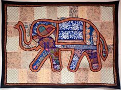 HANDMADE ELEPHANT BOHEMIAN PATCHWORK WALL HANGING EMBROIDERE TAPESTRY INDIA X00…