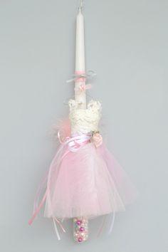 Χειροποίητη Πασχαλινή Λαμπάδα λευκή - διάφανη με πέρλες και χειροποίητο φόρεμα.