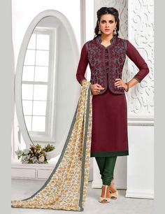 Maroon Chanderi Churidar Suit 68000
