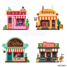 Vector: Set of nice shops. Different Showcases: bakery, candy store, pizza cafe, coffee. Flat vector illustration stock set.