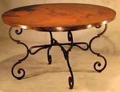 Hand Hammered Copper Dining Table - Monica Round - Item #DT00198 - Eco-Friendly Recycled Copper & Forged Iron