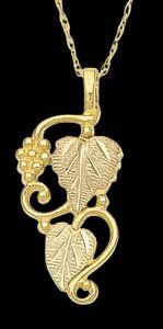 Black Hills Gold Grape & Leaf Pendant