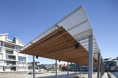 Perforated pergola – mesh used as sunscreen at Wharf 7, Darling Harbour, Sydney.