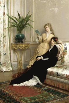 The Letter. Gustave Léonard de Jonghe (Belgian, 1829-1893). Oil on panel.François-Josef Navez encouraged young de Jonghe's focus on elegant genre subjects. Much like his Belgian contemporary compatriot Alfred Stevens, de Jonghe created images of the fashionable women of the Second Empire in domestic interiors.http://books0977.tumblr.com/