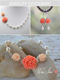 Beautiful rose and pearl set