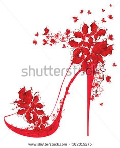Shoes on a high heel decorated with butterflies. Vector illustration. by Marina99, via Shutterstock