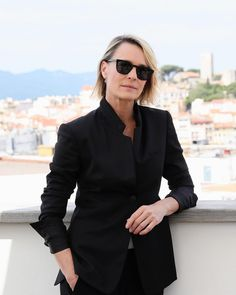 Robin Wright wears a black tailored suit from the Autumn 2017 collection at the #WomenInMotion talks at #Cannes2017.