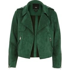 Petite green faux suede cropped biker jacket ($98) ❤ liked on Polyvore featuring outerwear, jackets, green jacket, petite jackets, side zipper jacket, faux suede moto jacket and green motorcycle jacket