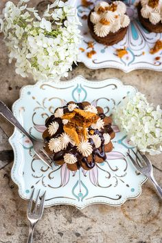 Coffee and Walnut Cupcakes with Honeycomb and Chocolate Sauce