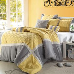 yellow and grey bedroom! i want to do mine this way