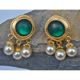 pearl-drop-earrings-with-green-stone