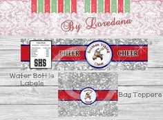 Cheer Team Gifts... Water Bottle Labels....Bag by DDbyLoredana