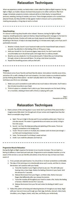 Techniques (Worksheet Relaxation Techniques for stress & anxiety (Part of the CBT therapy for self calming & learning to relax before crisis hits)Stress Stress may refer to: Cbt Therapy, Therapy Worksheets, Therapy Tools, Occupational Therapy, Anxiety Therapy, Cbt Worksheets, Relaxation Pour Dormir, Learning To Relax, Counseling Activities