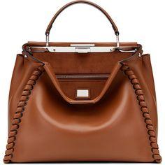 Fendi Peekaboo Medium Stitch Threading Satchel ($4,755) ❤ liked on Polyvore featuring bags, handbags, cognac, cognac handbag, fendi satchel, fendi purses, satchel handbags and brown purse