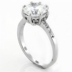 Bling Jewelry 925 Sterling Silver 8 Prong Round CZ Engagement Ring Side Stones