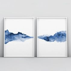 Abstract, liquid, and dissolving forms harmonized in minimalist fashion form a horizontal line on this 2 piece poster set. Watercolor technique supports different shades of blue color, leaving the impression of sensitivity and subtlety. Blue is the color Wall Art Prints, Poster Prints, Blue Poster, Kunst Poster, Abstract Watercolor, Abstract Paintings, Abstract Landscape, Water Color Abstract, Oil Paintings
