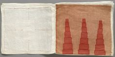 Louise Bourgeois, Ode à l'Oubli, 2004. Hand-made cloth book, 36 pages. Fabric, lithographic ink and archival dyes. Untitled, no. 1 & 2 of 34.