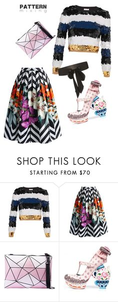 """""""pattern mixing"""" by tash-finlay-ball ❤ liked on Polyvore featuring Sonia Rykiel, Chicwish, Irregular Choice and Monique Lhuillier"""