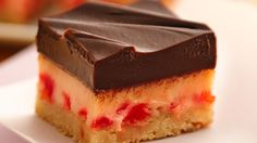 Choco-Cherry Cheesecake Bars  Simple chocolate-topped bars have a creamy filling and tender cookie crust.
